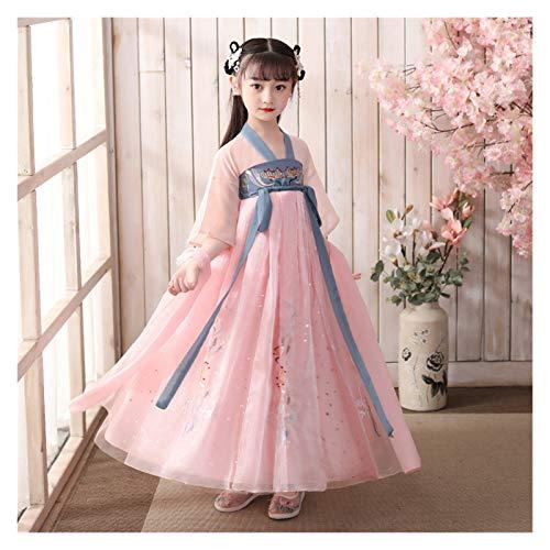 Ragazze Hanfu Stile Cinese Super Fata Gonna Bambini Costume Vestito Hanfu Fata Scorre Maniche Lunghe Abito Estivo (Colore: Stile H, Taglia : 140cm)