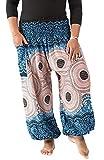 Xixiuly Men's Women Plus Size Harem Pants Hippie Pockets Boho Print Baggy Yoga Trousers (Grey Floral,One Size)