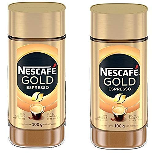 NESCAFE Gold Espresso Instant Coffee, 100g/3.5oz, Jar (2 Pack), {Imported from Canada}