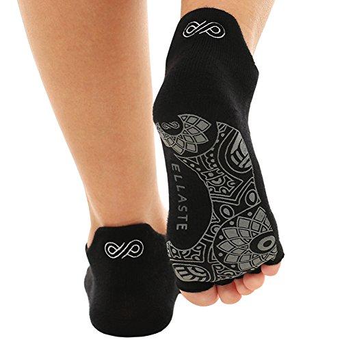 yoga socks Ellaste Open Toe Yoga Socks - Non Slip Half Toe Sock with Anti Skid Grip for Yoga Pilates Barre: for Women Girl (Black, Small/Medium (Women 5.5-8.5 / Men 4.5-7.5))