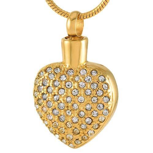 TIANZXS Moda Mujer Cristal Incrustaciones Colgante y Collar Pvd Plateado Cenizas Titular Recuerdo urna Collar Oro