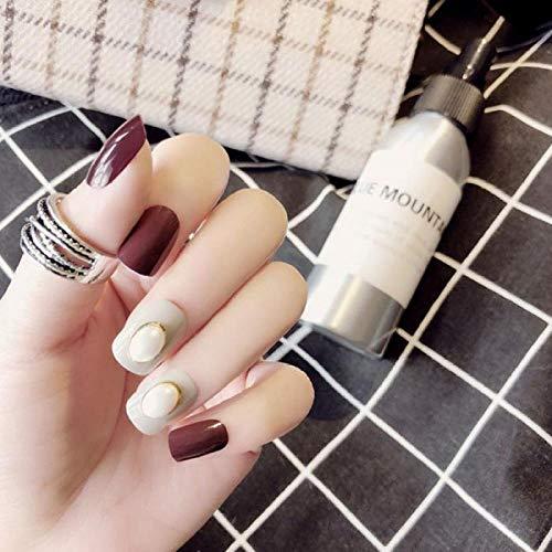 CSCH Faux ongles 24 pcs Mix Couleur fausse presse sur les ongles Pure Couleur Imitation Perle Court Carré Pleine Couverture Nail Art faux ongles avec de la colle pour les filles