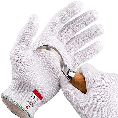 NoCry Cut Resistant Protective Work Gloves with Rubber Grip Dots. Tough and Durable Stainless Steel Material, EN388 Certified. 1 Pair. White, Size Large
