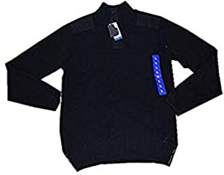 Men's 1/4 Snap Zip Collared Sweater(Black, Large)