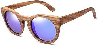 7550995769 Gafas de Sol polarizadas de bambú con Montura Redonda Gafas de Sol de Madera  Hechas a