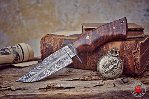 Bobcat Knives -10-inch Overall, Bladesmith Pride, Hunting Bowie Knife - Full Tang Fixed Blade Damascus Steel - Walnut Wood Handle with Leather Sheath