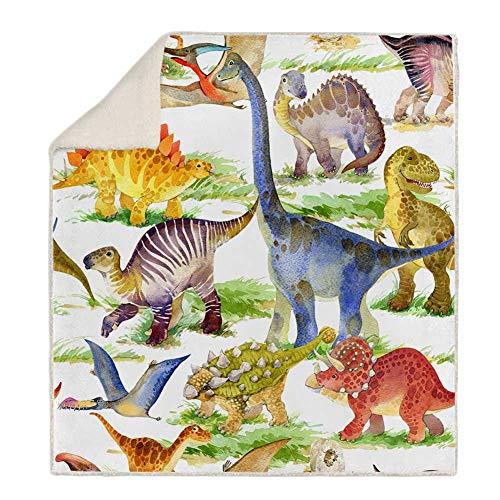 X&JJ Manta De Lana De Dinosaurio Suave Acogedor Reversible Manta para Niños para Niños Adultos Impresos De Felpa De Felpa Manta Sólida para Cama Y Sofá,A,130 * 150cm