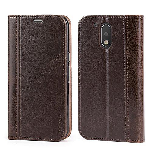 Mulbess Handyhülle für Motorola Moto G4 Hülle Leder, Wallet Case Leder Flip Schutzhülle für Motorola G4 and Moto G4 Plus Tasche Bookcase, Coffee Braun