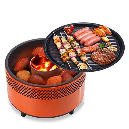 YX-ZD Rauchloser Holzkohlegrill Tragbarer Grill Mit Ventilator Für Schnelle Hitze Im Freien Tischplatte Kleiner Holzkohlegrill Antihaft-Rundgrill