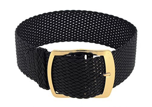 Minott Ersatzband Uhrenarmband Perlonband Durchzugsband Textilband 28691, Farbe:schwarz, Stegbreite:18mm, Schließe:Gelbgolden