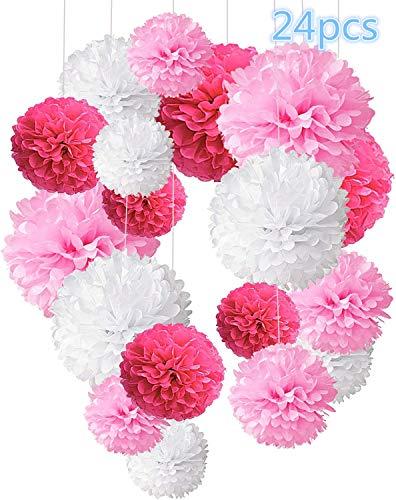 Freudlich 24 Pezzi Pompon in Carta Velina Decorativo Palla Fiore per Il Compleanno Decorazione della Festa Nuziale - Rosa Rossa, Rosa e Bianca