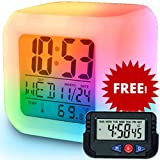 SuperKart Automatic 7 Color Lights Changing LED Alarm Clock with Date, Time, Temperature
