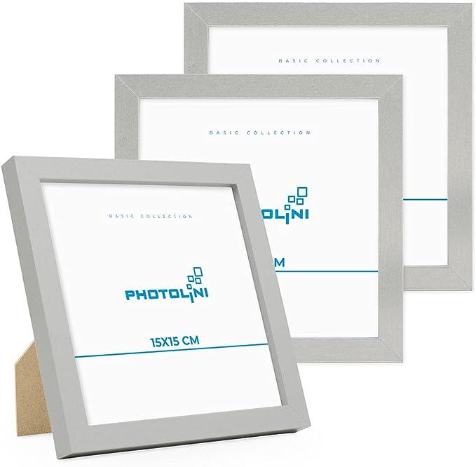 5448 opinioni per Photolini Set di 3 cornici per Foto da 15x15 cm Modern Argento in MDF con Vetro