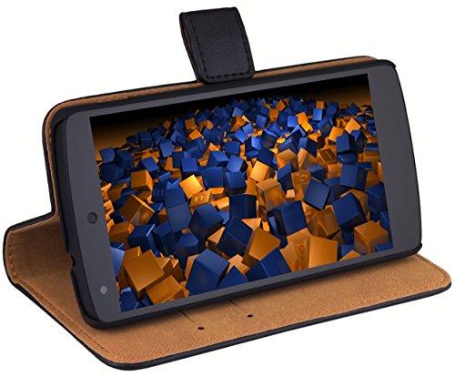 mumbi Echt Leder Bookstyle Case kompatibel mit LG Nexus 5 Hülle Leder Tasche Case Wallet, schwarz