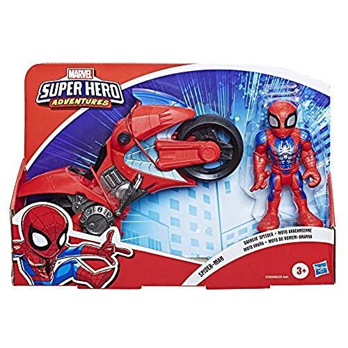 Playskool Heroes Marvel Super Hero Adventures Spider-Man Swingin' Speeder, 12,5 cm Figur und Motorrad, Spielzeug für Kinder ab 3 Jahren