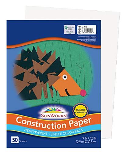 "Sunworks Construction Paper, White, 9"" x 12"", 50 Sheets (9203)"