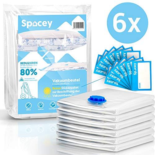 Spacey Jumbo Vakuumbeutel (6er Set) - 100x80cm - für Bettdecken, Bettwäsche, Kleidung für Staubsauger - GRATIS Etiketten
