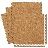 WEIMALL コルクマット ジョイントマット 大判 60×60cm 厚さ0.8cm 32枚セット(約6畳用) サイドパーツ付き 防音