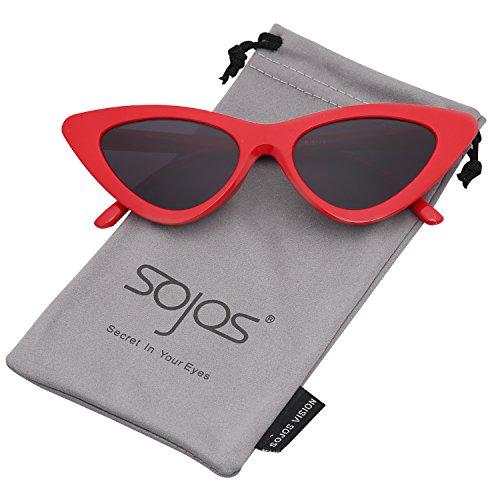 SOJOS Katzenauge Rahmen Mode UV-Schutz Damen Sonnebrille Cat Eye SJ2044 mit Rot Rahmen/Grau Linse