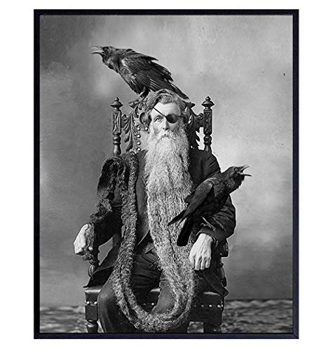 Raven Wall Art Poster - Odin - Norse Mythology - Gothic Home Decor - Goth Wall Art Decor - Creepy Scary Vintage Photo for Halloween Decorations - Gift for Wicca, Wiccan, Black Magic, Medieval Decor