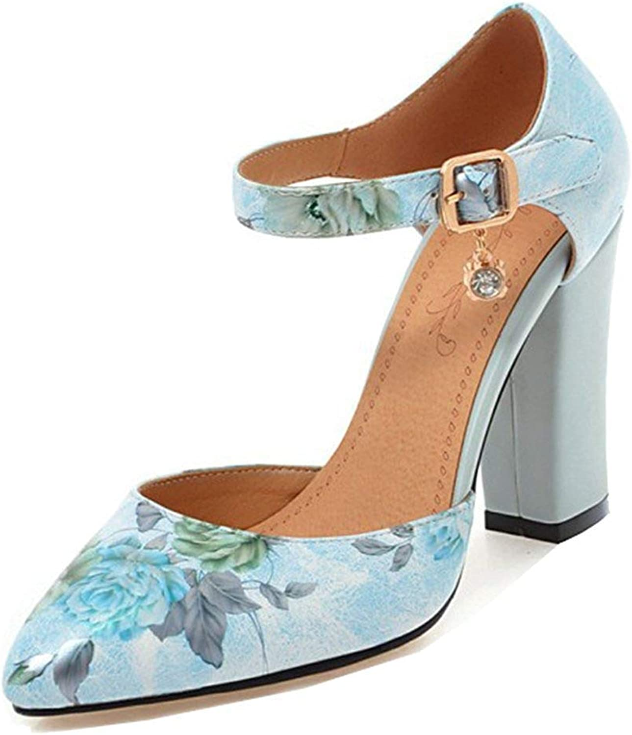 Unm Women's Pretty Floral Buckled Dressy Stacked High Heel Pointed Toe D'Orsay Ankle Strap Pumps shoes