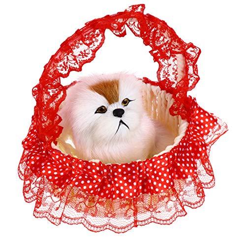 VALICLUD Canasta de Juguetes de Peluche para Perros Juguetes de Peluche para Perros con Sonido de Ladridos Adorno para Perros Encantador Juguete Rojo para Niños