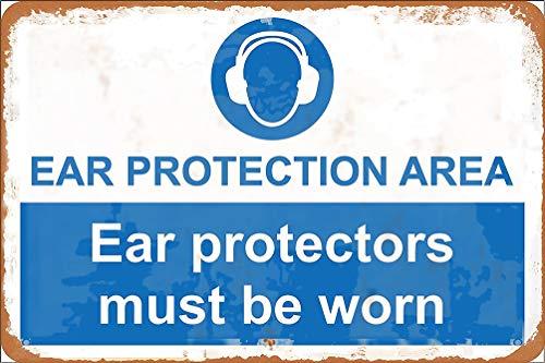 GUANGZHOU Protector de oído de área de protección para los oídos debe ser usado, cartel de metal retro para pared Fender Art Iron Painting Bar Café Cena Familia Cartel publicitario