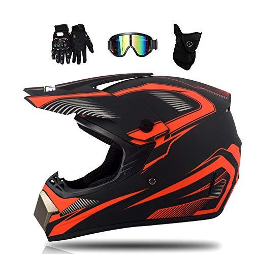 MRDEAR Motorrad Crosshelm Schwarz und Rot, Fullface Motocross Helm Set Kinder Adult mit Brille (4 Stück), Cross Enduro MTB Helm Mopedhelm Motorradhelm für Downhill Bike Mountainbike ATV BMX,M
