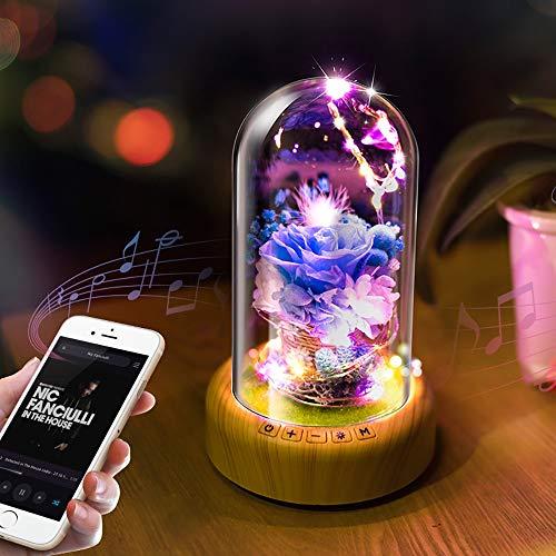 Yang1mn LED creativo que desea Bluetooth altavoz azul/rosa luz de noche de cristal/luz de deseo (Color : Blue)
