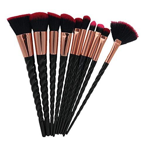 Pinceau de Maquillage, 10 Sets de Pinceaux de Maquillage Fondation Liquide Cosmétique Blush Ombre à Paupières Crème Femme Beauty Flash Pinceau de Maquillage Outil