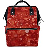 Backpack Forma De Corazón Día De San Valentín 28X18X40Cm Mochila De Pañales De Gran Capacidad Papá Bolsos De Bebé Cremallera Multifunción Viajes Ocasionales Mochilas De Mamá Unisex