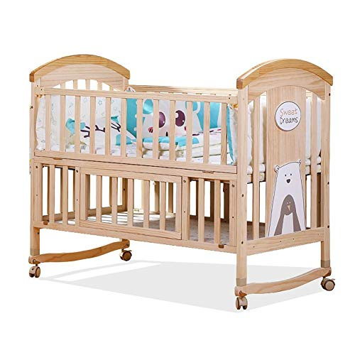XY Crib Infant Cot Bed, Baby Wood Sofa/Crib, Baby Furniture, Pine, Versatile Use, Removable Changing Fence (Color : Wood Color, Size : S)