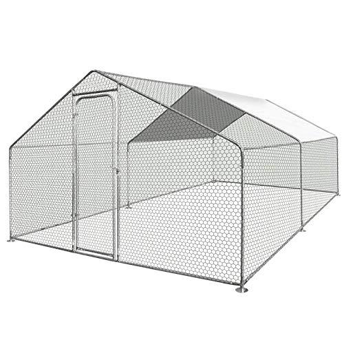 IDMarket - Enclos poulailler 16M² Parc grillagé 4x4 M Acier galvanisé