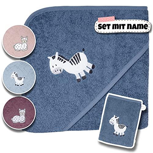Baby Kapuzenhandtuch Set mit Waschlappen | Baby Badetuch 80x80 Bestickt mit Namen | Baby Handtuch Kapuzenbadetuch | personalisiert mit Name | Jungen Mädchen (Dunkelblaues Zebra)