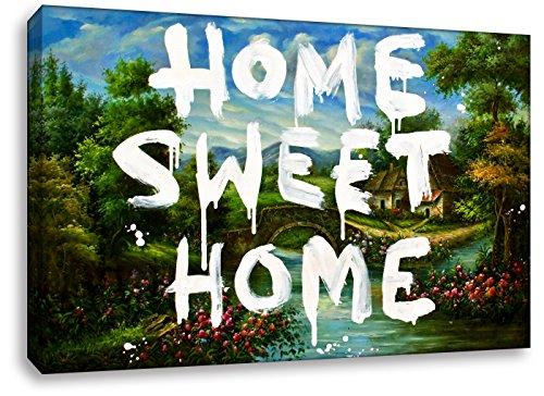 Wandbild von Kunstbruder - Home Sweet Home - Banksy Graffiti - Leinwandbild auf Keilrahmen Pop Art Gemälde Kunstdruck Wandbild Leinwand Zimmerbild Flurbild Wohnzimmerbild (60x40cm)