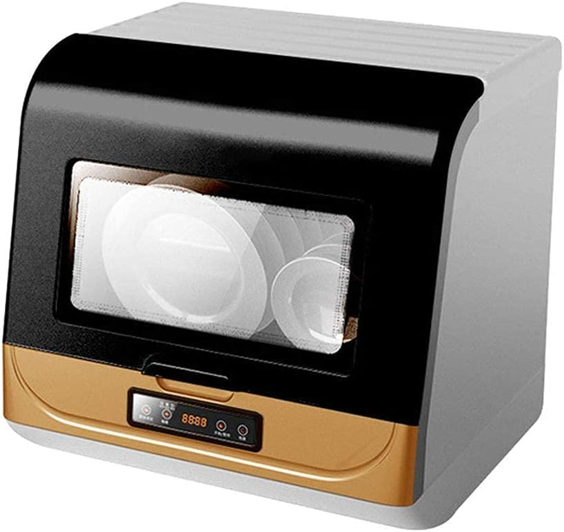Lavavajillas automático de alta presión con ondas de alta presión, mini lavadora de platos portátil con interior de acero inoxidable y 6 ajustes de lugar, spray rotativo 360° azimut, color blanco