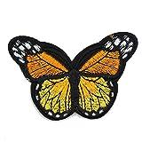 1 parche bordado de mariposa para coser en apliques para ropa, accesorios de apliques, naranja, 7.8 * 4.2cm