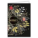 Afie 69-7030 Carte merci remerciement fleurs avec dorure Format 12 x...