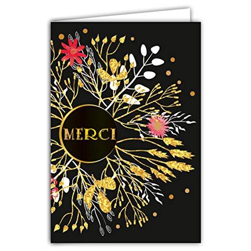 Afie 69-7030 Carte merci remerciement fleurs avec dorure Format 12 x 17,5 cm + Enveloppe Blanc