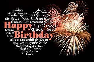 Home Comforts Luck Greeting Birthday Fireworks Happy Birthday Vivid Imagery Laminated Poster Print 11 x 17