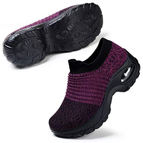 Women's Fashion Sneakers Breathable Mesh Casual Sport Shoes Comfortable Walking Shoes Black Purple 9.5