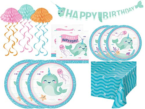 Affordable Narwhal Party Supplies and Decorations – Narwhal Party Plates Napkins & Tablecloth for 24 People | Whale Unicorn of the Ocean Themed Birthday Party Disposable Tableware Set and Decorations (85 Pieces)