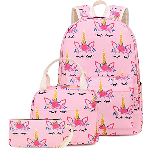 CAMTOP School Backpack for Girls Teens Bookbag Set Cute Student Backpack 3 In 1, School Bags with Lunch Box Pencil Case (Pink-1)
