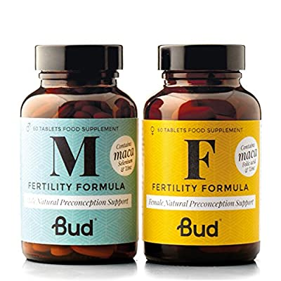 Bud Fertility Supplement for Women & Men | Male & Female Natural Fertility Vitamins for Couples Trying to Conceive | Maca + Key Vitamins, Minerals & Adapotogens to Boost Fertility | 60 + 60 Tablets