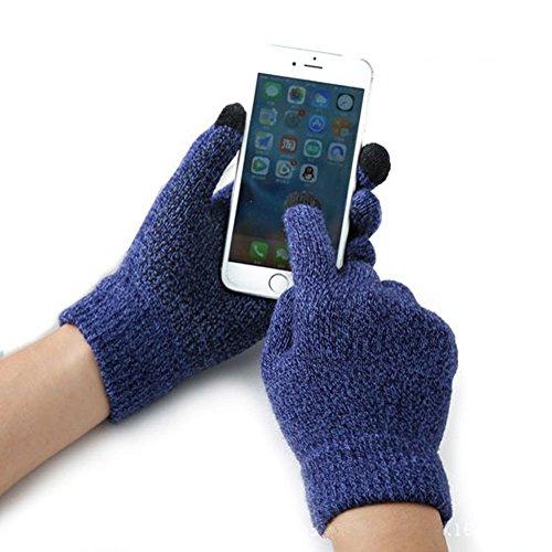 Guanti invernali tattili, riscaldanti in lana di cashmere, morbidi, antiscivolo, per bicicletta, moto, con schermo touch, per smartphone e tablet GPS da uomo e donna