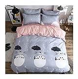 KFZ Bed Set Totoro Cat Print 3pcs Bedding Set One Duvet Cover (Without Comforter Insert) One Flat Sheet One Pillowcase for Kids Teens Sheets Set (Magic Cat, Grey, Twin, 59'x78', 3pcs)