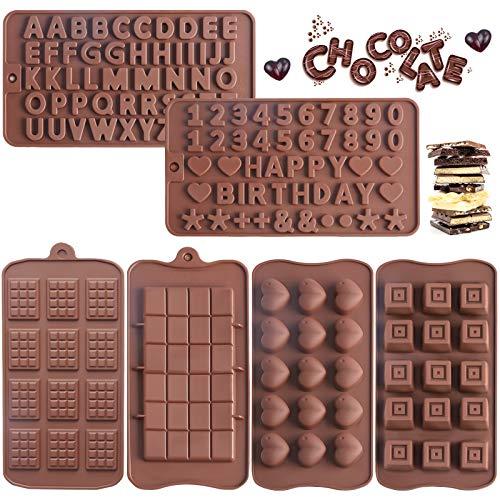 Leslady 6 Moules à Chocolat en Silicone antiadhésif Moules à Lettres et Chiffres Moule à Gâteau au Chocolat pour la cuisson des bonbons de gâteau Cake Topper