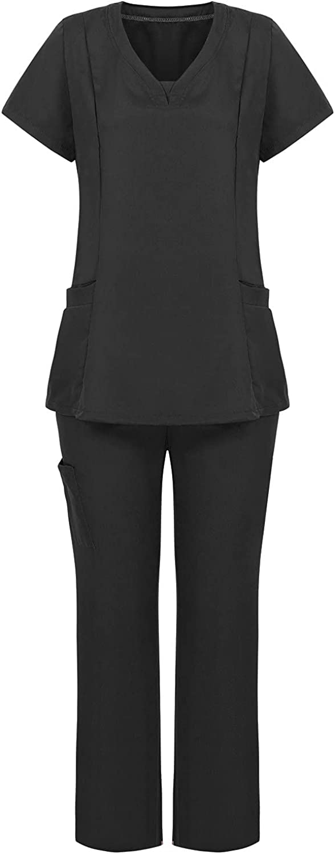 Scrub_Sets for Women and Men V-Neck Scrub_Tops & Yoga Jogger Scrub_Pants Working Uniform Sets with Pockets