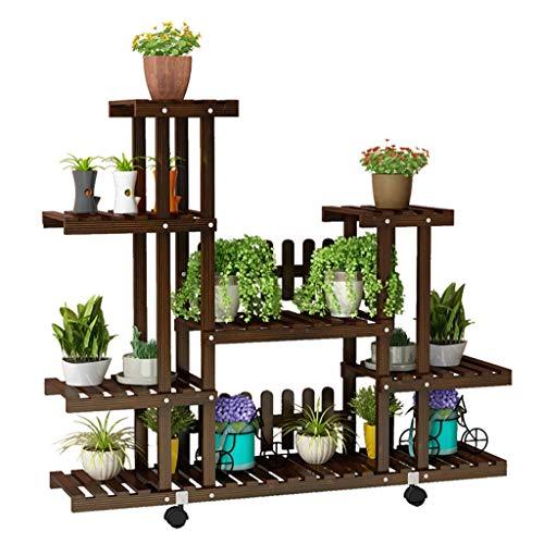 Plantes Q Jardinière Multi-usages Rack, Support Naturel d'affichage en Bois avec Roue Universelle for Salon Chambre Balcon Jardin (Color : Universal Wheel Version)