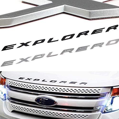 Exotic Store F-ERS 2011-2017 3D Metal Fit for Ford Explorer Sport Chrome Black Front Hood Emblem Letters Badge Decal Chrome not plastic